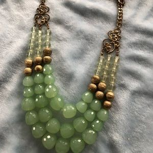 Jewelry - 3 strand green and gold necklace